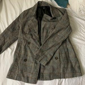 Jackets & Blazers - Plaid buttoned blazer coat